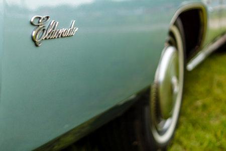 PAAREN IM GLIEN, GERMANY - JUNE 03, 2017: Fragment of a full-size personal luxury car Cadillac Eldorado (Seventh generation). Exhibition Die Oldtimer Show.
