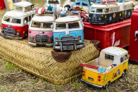 PAAREN IM GLIEN, GERMANY - JUNE 03, 2017: Toy cars Volkswagen Type 2 (T1). Exhibition Die Oldtimer Show.