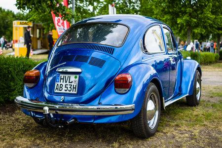 PAAREN IM GLIEN, GERMANY - JUNE 03, 2017: Economy car Volkswagen Beetle, 1973. Rear view. Exhibition