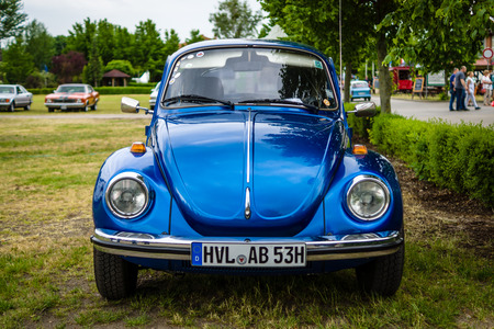 PAAREN IM GLIEN, GERMANY - JUNE 03, 2017: Economy car Volkswagen Beetle, 1973. Exhibition Die Oldtimer Show.