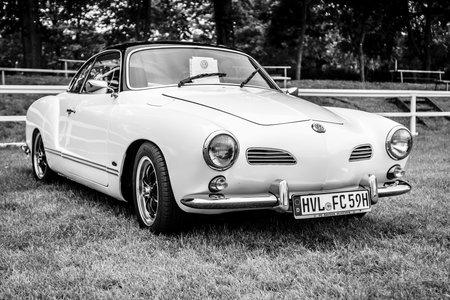 PAAREN IM GLIEN, GERMANY - JUNE 03, 2017: Sports car Volkswagen Karmann Ghia, Typ 14. Black and white. Exhibition Die Oldtimer Show.