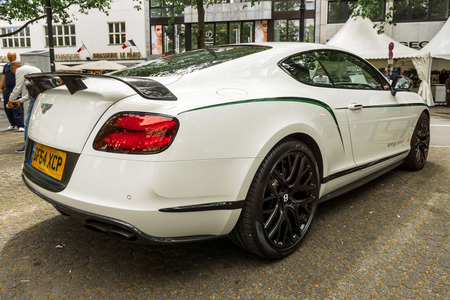BERLIN - JUNE 17, 2017: Personal luxury car Bentley Continental GT, 2017. Rear view. Classic Days Berlin 2017. Editorial