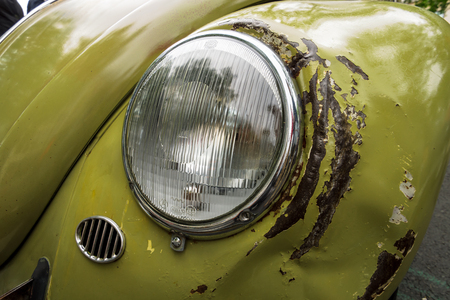 BERLIN - JUNE 17, 2017: The rusty and dented body parts of Volkswagen Beetle. Classic Days Berlin 2017. Editorial