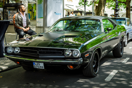 BERLIN - JUNE 17, 2017: Muscle car Dodge Challenger RT coupe, 1970. Classic Days Berlin 2017.
