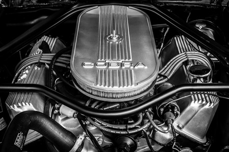 carburetor: BERLIN - JUNE 17, 2017: Engine of the Ford Shelby Mustang GT500 Eleanor. Close-up. Black and white. Classic Days Berlin 2017.
