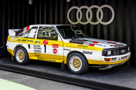 BERLIN - JUNE 17, 2017: Sports car Audi Sport Quattro Pikes Peak, 1985. Classic Days Berlin 2017.