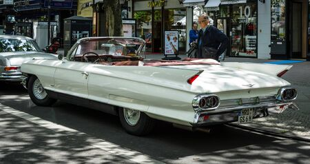 BERLIN - JUNE 17, 2017: Full-size luxury car Cadillac Series 62 Convertible Coupe, 1961. Rear view. Classic Days Berlin 2017.