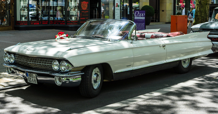BERLIN - JUNE 17, 2017: Full-size luxury car Cadillac Series 62 Convertible Coupe, 1961. Classic Days Berlin 2017.