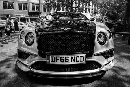 BERLIN - JUNE 17, 2017: Personal luxury car Bentley Continental Supersports, 2017. Black and white. Classic Days Berlin 2017. Editorial