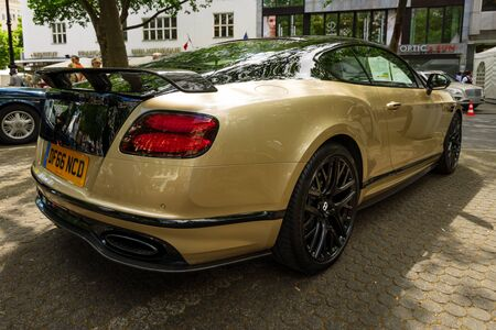 BERLIN - JUNE 17, 2017: Personal luxury car Bentley Continental Supersports, 2017. Rear view. Classic Days Berlin 2017.