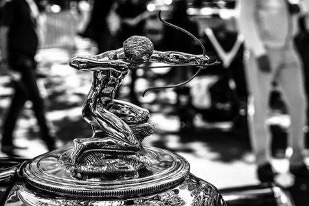BERLIN - JUNE 17, 2017: Hood ornament of the luxury car Pierce-Arrow, 1933. Black and white. Classic Days Berlin 2017. Editorial