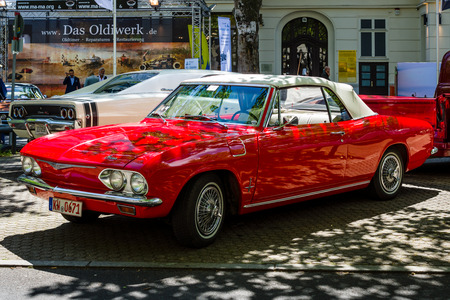 BERLIN - JUNE 17, 2017: Compact car Chevrolet Corvair Monza convertible (second generation), 1969. Classic Days Berlin 2017.