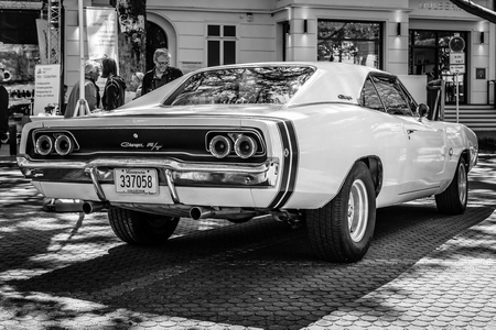 BERLIN - JUNE 17, 2017: Mid-size car Dodge Charger RT, 1968. Rear view. Black and white. Classic Days Berlin 2017.