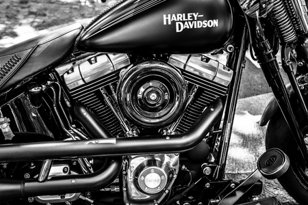 BERLIN - JUNE 17, 2017: Engine of motorcycle Harley-Davidson, close-up. Black and white. Classic Days Berlin 2017. Редакционное