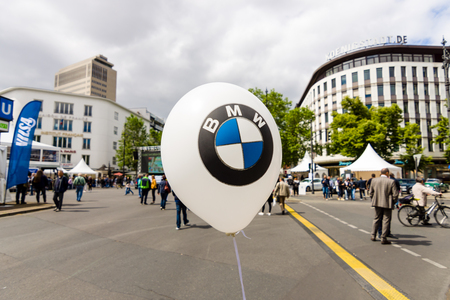 BERLIN - JUNE 17, 2017: The symbol of BMW on a balloon. Bayerische Motoren Werke AG (BMW), is a German luxury vehicle, motorcycle, and engine manufacturing company founded in 1916.