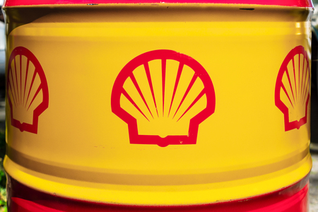 BERLIN - JUNE 17, 2017: Shell emblem on the oil barrel. Royal Dutch Shell (Shell), is a British-Dutch multinational oil and gas company and the sixth-largest company in the world.