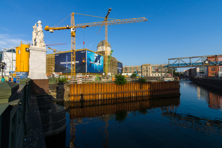 BERLIN - JULY 09, 2017: Restoration of the Berlin City Palace (Berliner Stadtschloss) on the site of the previously destroyed historic building in 1945.