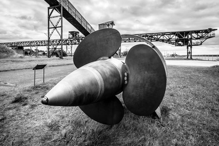 abandoned factory: PEENEMUENDE, GERMANY - JULY 18, 2017: Old ship screw. Black and white. Territory of the Army Research Center. During the World War II, the area was highly involved in the development and production of the V-2 rocket. Editorial