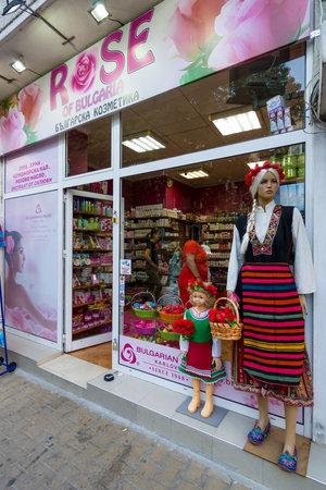 POMORIE, BULGARIA - AUGUST 19, 2017: Shop of traditional Bulgarian cosmetics Rose of Bulgaria. Editorial