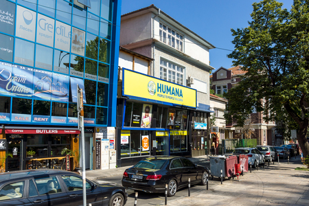 BURGAS, BULGARIA - AUGUST 20, 2017: Second-hand clothing store - Humana. Burgas, is the second largest city on the Bulgarian Black Sea Coast.