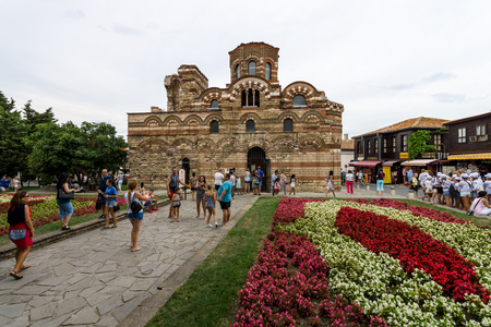 NESEBAR, BULGARIA - AUGUST 21, 2017: Church of Christ Pantocrator in the old town. Nesebar is an ancient city and one of the major seaside resorts on the Bulgarian Black Sea Coast.