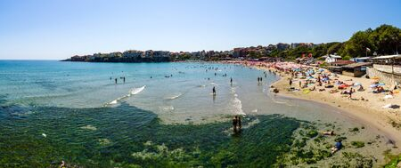 SOZOPOL, BULGARIA - AUGUST 24, 2017: Panoramic view of the public beach of the Black Sea Coast.