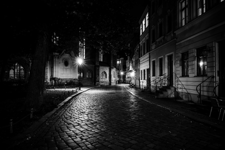 An ancient street in the historical quarter of Nikolaiviertel (Nicholas Quarter). Berlin. Germany. Black and white.