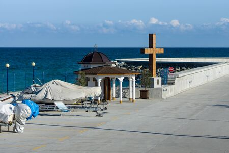 POMORIE, BULGARIA - AUGUST 26, 2017: Chapel of St. Nicholas in the sea port of the seaside resort town of Pomorie. Editorial