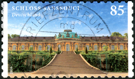 GERMANY - CIRCA 2016: A stamp printed in Germany, shows a Sanssouci is the summer palace of Frederick the Great, circa 2016
