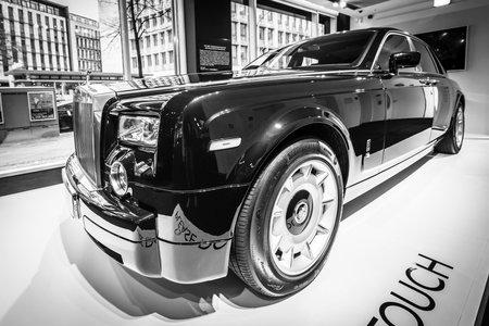 BERLIN - DECEMBER 21, 2017: Showroom. Full-size luxury car Rolls-Royce Phantom VII. Since 2003. Black and white. Editorial