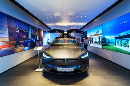 BERLIN - DECEMBER 21, 2017: Showroom. The full-sized, all-electric, luxury, crossover SUV Tesla Model X. Produced since 2016.