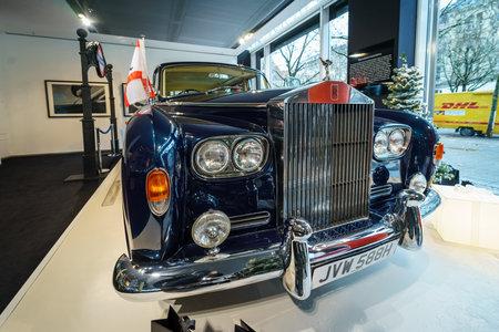 BERLIN - DECEMBER 21, 2017: Showroom. British ultra-exclusive limousine Rolls-Royce Phantom VI, 1970. Coachwork was created by Mulliner Park Ward.