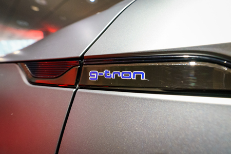 BERLIN - DECEMBER 21, 2017: Showroom. Emblem of the compact executive car Audi A5 Sportback g-tron. Since 2017. Editorial
