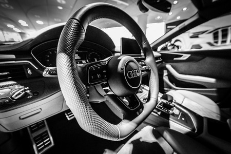 BERLIN - DECEMBER 21, 2017: Showroom. Interior of the compact executive car Audi A5 Sportback g-tron. Since 2017.