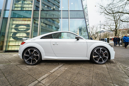 BERLIN - DECEMBER 21, 2017: Showroom. Compact sports coupe Audi TT RS. Since 2016.