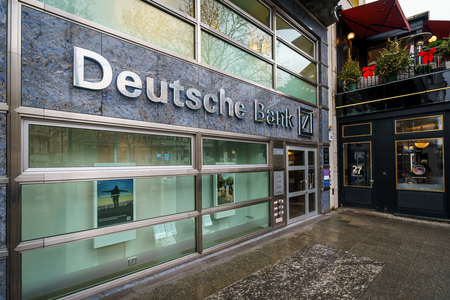 BERLIN - DECEMBER 21, 2017: Deutsche Bank office in the Kurfurstendamm. Deutsche Bank AG is a German global banking and financial services company.