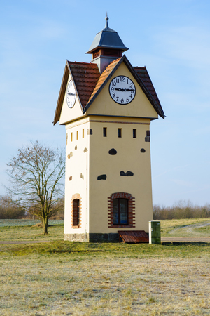 Clock Tower in one of the oldest villages in Germany - Gielsdorf (Altlandsberg). The first mention in the chronicles of 1375. Federal state of Brandundburg.