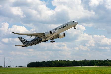 BERLIN, GERMANY - APRIL 27, 2018: Takeoff of the wide-body jet airliner Airbus A350 XWB. Exhibition ILA Berlin Air Show 2018 Editorial