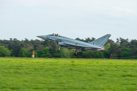 BERLIN, GERMANY - APRIL 27, 2018: Multirole fighter Eurofighter Typhoon on the runway. Exhibition ILA Berlin Air Show 2018