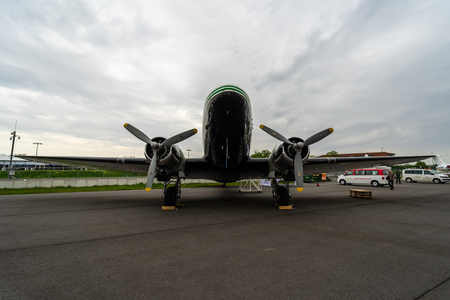 BERLIN, GERMANY - APRIL 25, 2018: Soviet cargo or passenger aircraft and light bomber Lisunov Li-2. Exhibition ILA Berlin Air Show 2018 報道画像