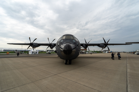 BERLIN, GERMANY - APRIL 25, 2018: Military transport, aerial refueling Lockheed Martin C-130J Super Hercules. French Air Force. Exhibition ILA Berlin Air Show 2018 Editorial