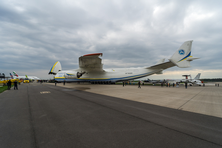 BERLIN, GERMANY - APRIL 25, 2018: Strategic airlifter Antonov An-225 Mriya by Antonov Airlines on the airfield. Exhibition ILA Berlin Air Show 2018 Editorial