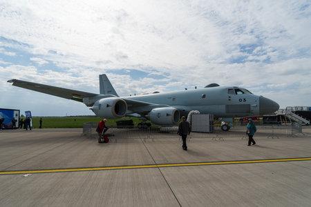 BERLIN, GERMANY - APRIL 25, 2018: Maritime patrol aircraft Kawasaki P-1. Japan Maritime Self-Defense Force. Exhibition ILA Berlin Air Show 2018