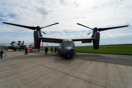 BERLIN, GERMANY - APRIL 25, 2018: VSTOL military transport aircraft Bell Boeing V-22 Osprey. US Air Force. Exhibition ILA Berlin Air Show 2018 Editorial