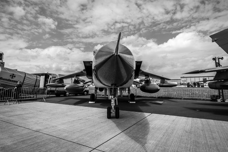 BERLIN, GERMANY - APRIL 25, 2018: Multirole, strike aircraft Panavia Tornado ECR. German Air Force. Black and white. Exhibition ILA Berlin Air Show 2018
