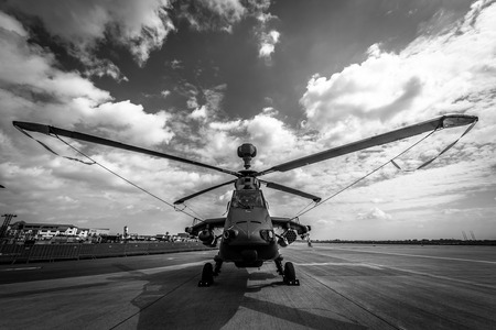 BERLIN, GERMANY - APRIL 25, 2018: Attack helicopter Eurocopter Tiger UHT. Black and white. Exhibition ILA Berlin Air Show 2018