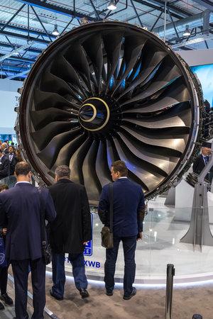 BERLIN, GERMANY - APRIL 25, 2018: Turbofan jet engines Rolls-Royce Trent XWB. Exhibition ILA Berlin Air Show 2018