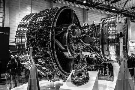 BERLIN, GERMANY - APRIL 25, 2018: Turbofan jet engines Rolls-Royce Trent XWB. Black and white. Exhibition ILA Berlin Air Show 2018
