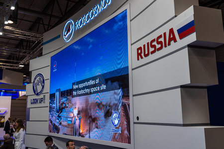 BERLIN, GERMANY - APRIL 25, 2018: Stand of the company Roscosmos (Roscosmos State Corporation for Space Activities, Russia). Exhibition ILA Berlin Air Show 2018 報道画像