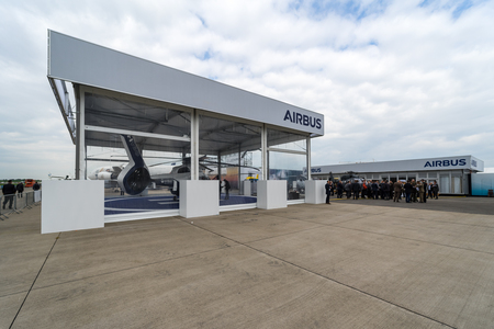 BERLIN, GERMANY - APRIL 25, 2018: Stand of the European multinational corporation company Airbus. Exhibition ILA Berlin Air Show 2018 Editorial